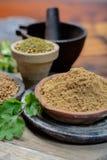 Semillas de coriandro secadas wirh de los cuencos de la arcilla y cierre del polvo del coriandro para arriba, colección de las es foto de archivo libre de regalías