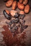 Semillas del cacao Fotografía de archivo