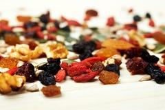 Semillas nuts de la mezcla y frutas secas Fotos de archivo libres de regalías