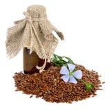 Semillas y flores de lino. fotografía de archivo libre de regalías