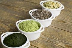 Semillas y polvo crudos de Superfood Fotografía de archivo