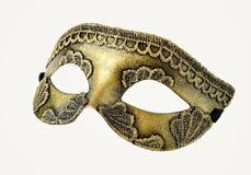 Semimaschera veneziana di carnevale dell'oro isolata su bianco Immagine Stock Libera da Diritti
