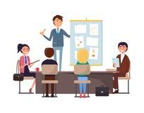 Seminário e trabalhadores do negócio que escutam para dirigir ilustração stock