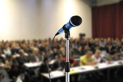 Seminar. Image of microphone during a seminar Royalty Free Stock Photography
