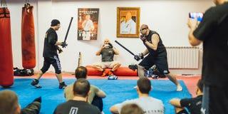 Seminar Belgrad Guro Roger Agbulos Lameco Astig Combative FMA stockbild