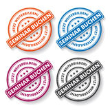 Seminar Booking Papper labels. Colored paper labels. German text Seminar Buchen and Jetzt Weiterbilden, translate Seminar Booking and Improve Oneself Now. Eps 10 Royalty Free Stock Image