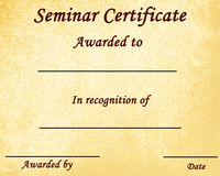 Seminar certificate Royalty Free Stock Photos