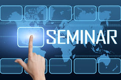 Seminar. Concept with interface and world map on blue background Royalty Free Stock Photo
