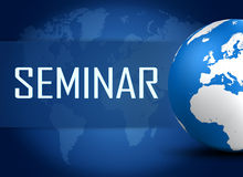 Seminar. Concept with world map on blue background Stock Photo