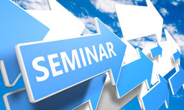 Seminar. 3d render concept with blue and white arrows flying upwards in a blue sky with clouds Royalty Free Stock Photo