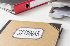 Seminar. A folder with the label Seminar Stock Image