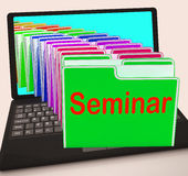 Seminar Folders Laptop Show Convention Presentation Or Meeting Stock Photos