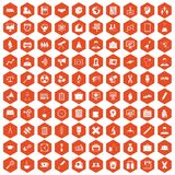 100 seminar icons hexagon orange. 100 seminar icons set in orange hexagon isolated vector illustration Stock Photo
