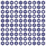 100 seminar icons hexagon purple. 100 seminar icons set in purple hexagon isolated vector illustration royalty free illustration