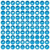 100 seminar icons set blue. 100 seminar icons set in blue circle isolated on white vectr illustration Royalty Free Stock Image