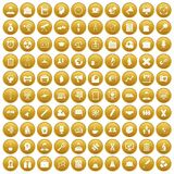 100 seminar icons set gold. 100 seminar icons set in gold circle isolated on white vectr illustration Stock Illustration