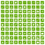 100 seminar icons set grunge green. 100 seminar icons set in grunge style green color isolated on white background vector illustration Stock Images