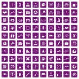 100 seminar icons set grunge purple. 100 seminar icons set in grunge style purple color isolated on white background vector illustration royalty free illustration