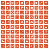 100 seminar icons set grunge orange. 100 seminar icons set in grunge style orange color isolated on white background vector illustration Stock Photos