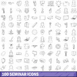 100 seminar icons set, outline style. 100 seminar icons set in outline style for any design vector illustration Royalty Free Stock Images