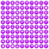 100 seminar icons set purple. 100 seminar icons set in purple circle isolated vector illustration stock illustration