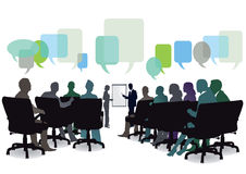 Seminar meeting. Illustration of seminar or meeting with audience seated with colorful empty speech (question) bubbles seen above, white background Royalty Free Stock Photos