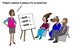 Seminar on NEW. Business cartoon about employees being freaked out by all the new changes Stock Images