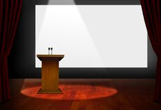 Seminar Podium and Blank Screen. On Stage Stock Image