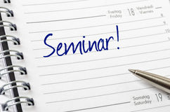 Seminar written on a calendar page Stock Images
