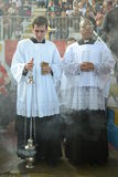 Seminarians at Holy Mass - Catholic Church stock image