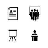 Seminario del negocio Iconos relacionados simples del vector Fotografía de archivo