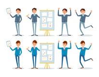 Seminario del negocio, presentador con las cartas a bordo ilustración del vector
