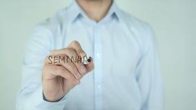 Seminario gratuito,自由研讨会文字用在玻璃的西班牙语 股票视频