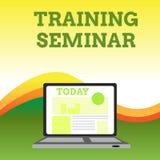 Seminarium f?r utbildning f?r textteckenvisning Öppnar den formella presentationen för begreppsmässig anvisning för fotoet akadem stock illustrationer