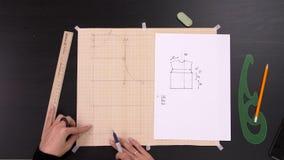 Seminarium till att sy Arbetsplats av s?mmerskan: saxen blyertspenna, skissar och m?ta bandet arkivfilmer