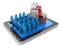 Seminariumbegrepp: online-affärsutbildning, coachning som är webinar Arkivfoto