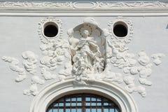 Seminariumkyrkas barocka stuckatur Royaltyfria Foton