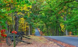 Civil War Cannons in Gettysburg. Seminary Ridge in Gettysburg, Pennsylvania looked gorgeous in 2017 with the changing leaves royalty free stock image