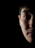 Semiobverse portrait. Portrait of the young Asian guy on which it is represented a half of the face Stock Image