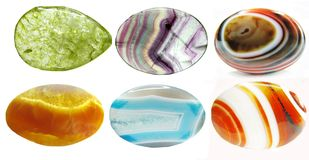 Semiprecious crystals geological minerals set Royalty Free Stock Photography