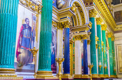 The semiprecious stone columns in St Isaac's Cathedral Royalty Free Stock Image
