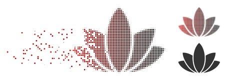 Semitono commovente Lotus Flower Icon del pixel Immagine Stock