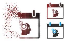Semitono di scomparsa Brain Gears Calendar Day Icon del pixel illustrazione di stock