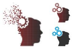 Semitono disperso Brain Gears Icon del pixel royalty illustrazione gratis