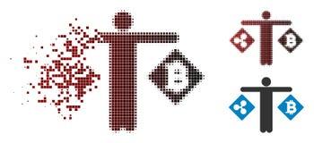 Semitono rotto Person Compare Ripple Bitcoin Icon di Pixelated Illustrazione Vettoriale