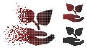 Semitono spezzettato Flora Care Hand Icon di Pixelated royalty illustrazione gratis