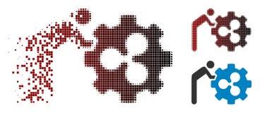 Semitono spezzettato Person Rolling Ripple Gear Icon del pixel royalty illustrazione gratis