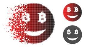 Semitono tagliuzzato Glad Bitcoin Smiley Icon di Pixelated Illustrazione di Stock