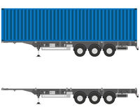 Semitrailer container. Isolated semitrailer container with a container on a white background. Vector illustration Stock Photo
