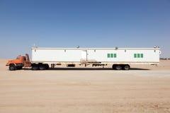 Semitrailer in the desert Royalty Free Stock Photos